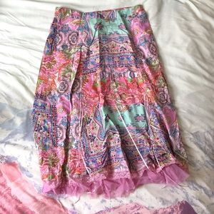Paisley Pink Multicolored Midi Skirt With Lace Up